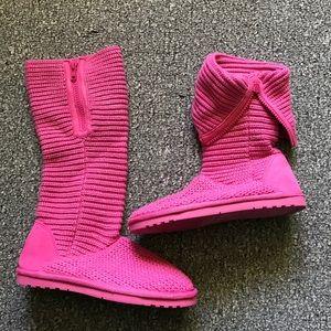 SONOMA TALISA Pink Knit Tall Zipper Pull on Boots